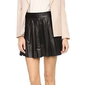 Alice + Olivia Box Pleat Leather Mini Skirt